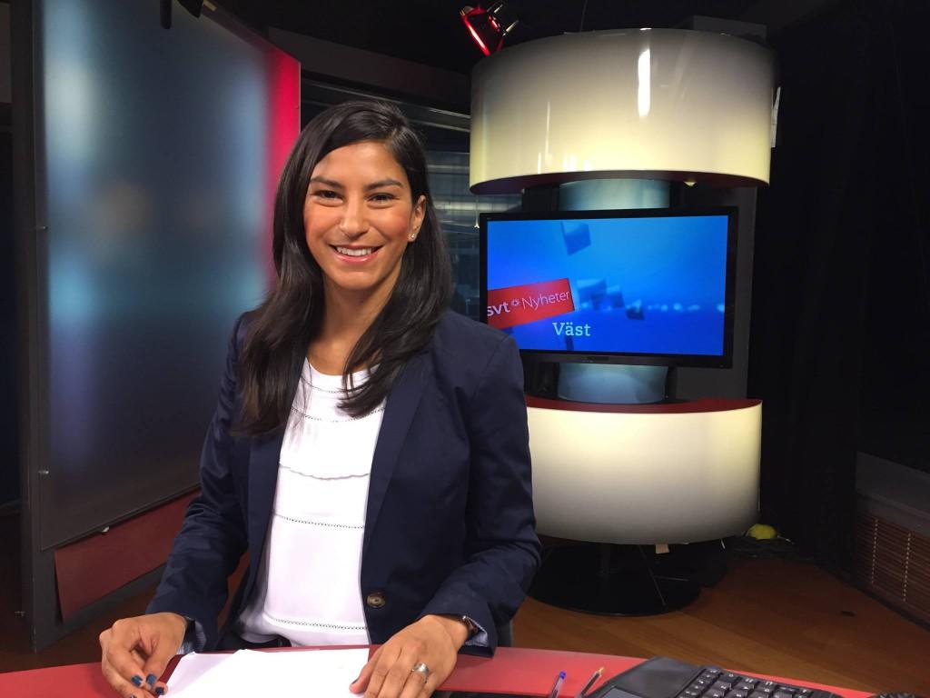 Reading the news of West Sweden at SVT, Gothenburg.