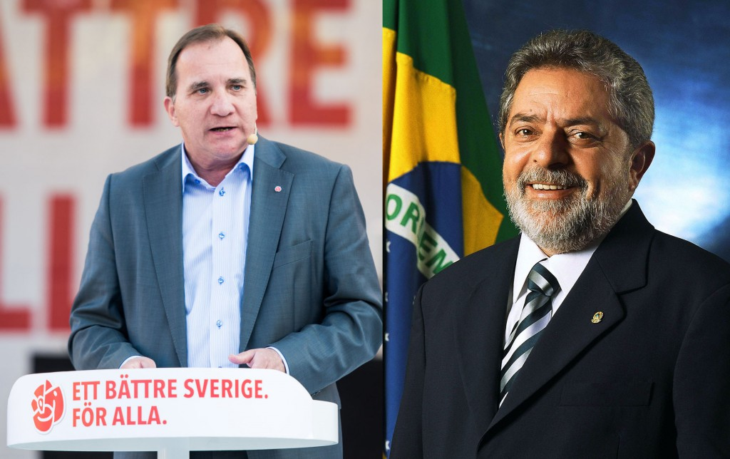Swedish Prime Minister Stefan Löfven and Brazil's ex-President Luiz Inácio Lula da Silva. Photos by Mattias Vespä and Ricardo Stuckert.